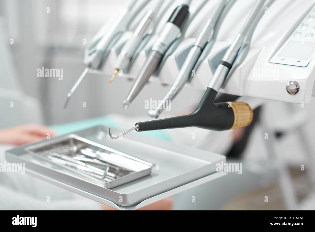 Medical tools at dental clinic - Stock Image