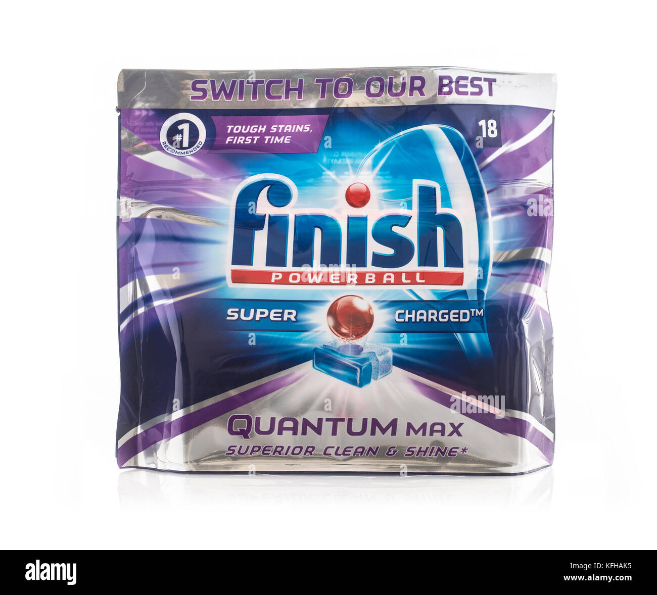 SWINDON, UK - OCTOBER 29, 2017: Finish Powerball Quantum Max Dishwasher Tablets on a white background - Stock Image