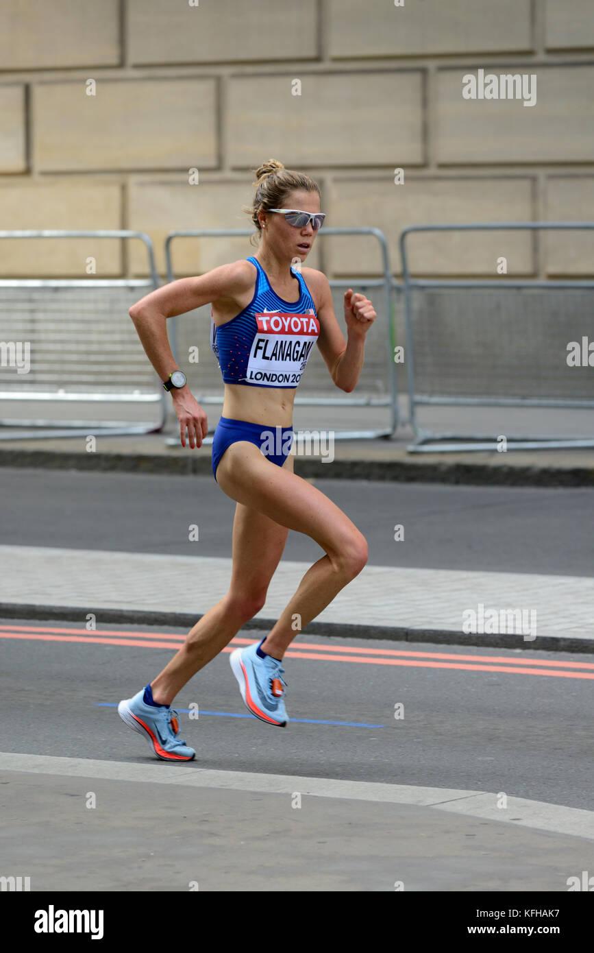 Lindsay Flanagan, United States, 2017 IAAF world championship women's marathon, London, United Kingdom - Stock Image