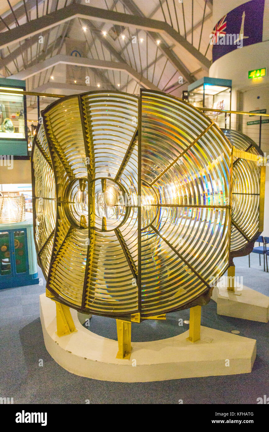 A display of some of the huge lighthouse lenses and prisms in the Museum of Scottish Lighthouses at Fraserburgh, - Stock Image