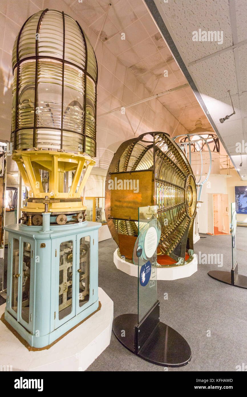 A display of some of the huge lighthouse lenses and prisms in the Museum of Scottish Lighthouses at Fraserburgh, Stock Photo