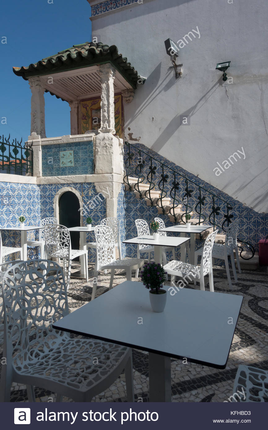 tiled courtyard at the rear of the Art Nouveau museum in Aveiro Portugal - Stock Image