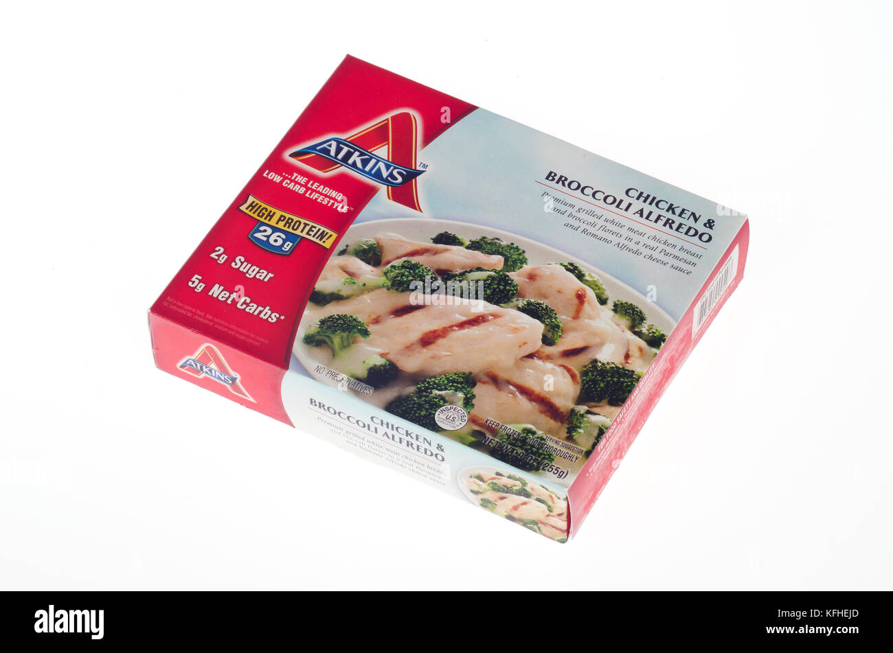 Atkins Diet Chicken & Broccoli Alfredo frozen tv dinner on white background - Stock Image