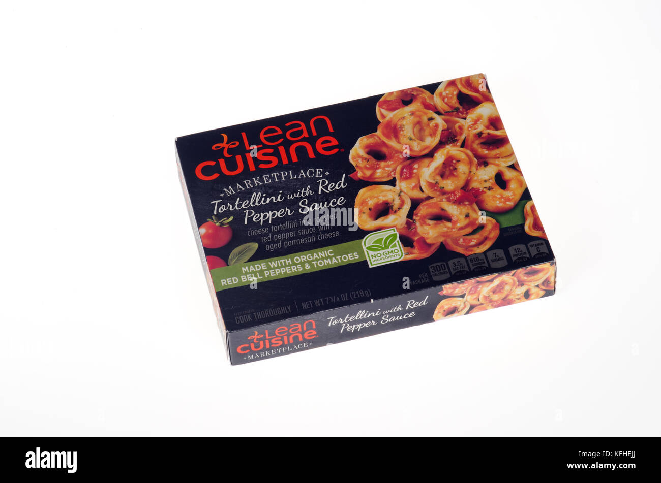 Lean Cuisine frozen meal of Tortellini in Red Pepper Sauce box - Stock Image