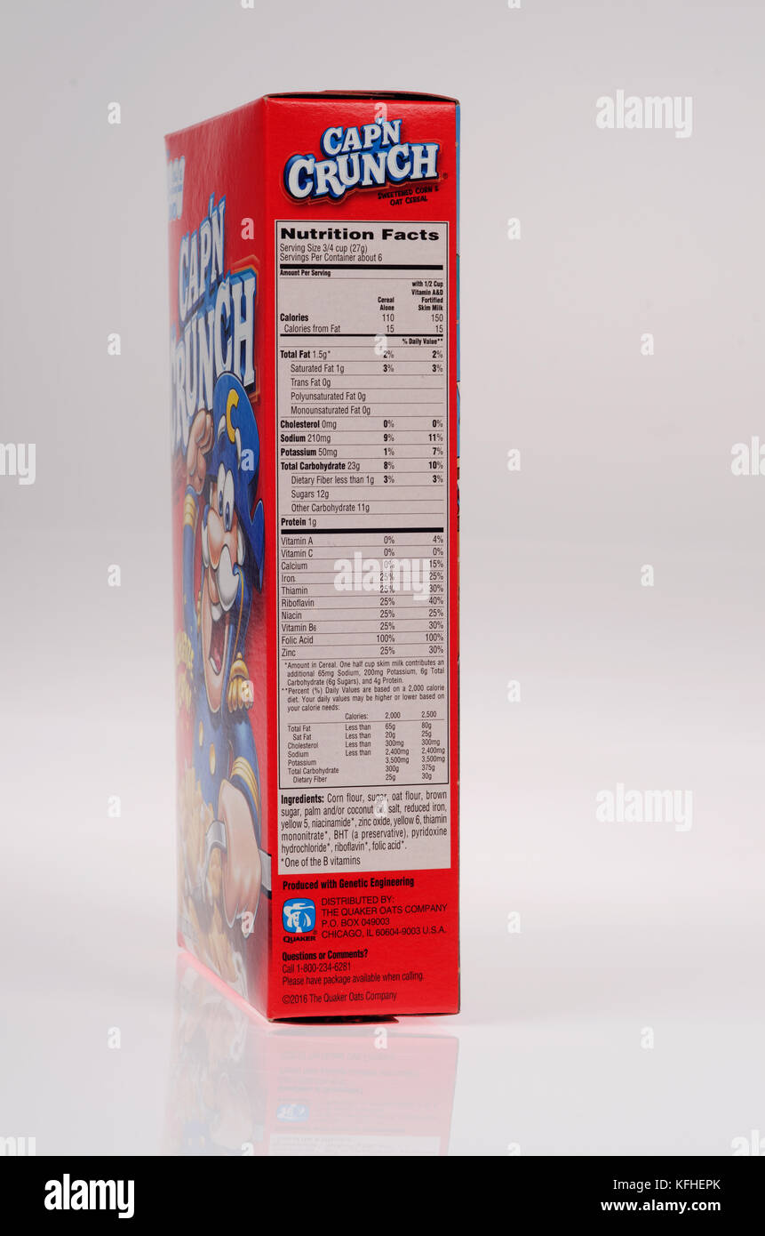 Nutrition facts on box of original Cap'n Crunch cereal on white background cutout USA.