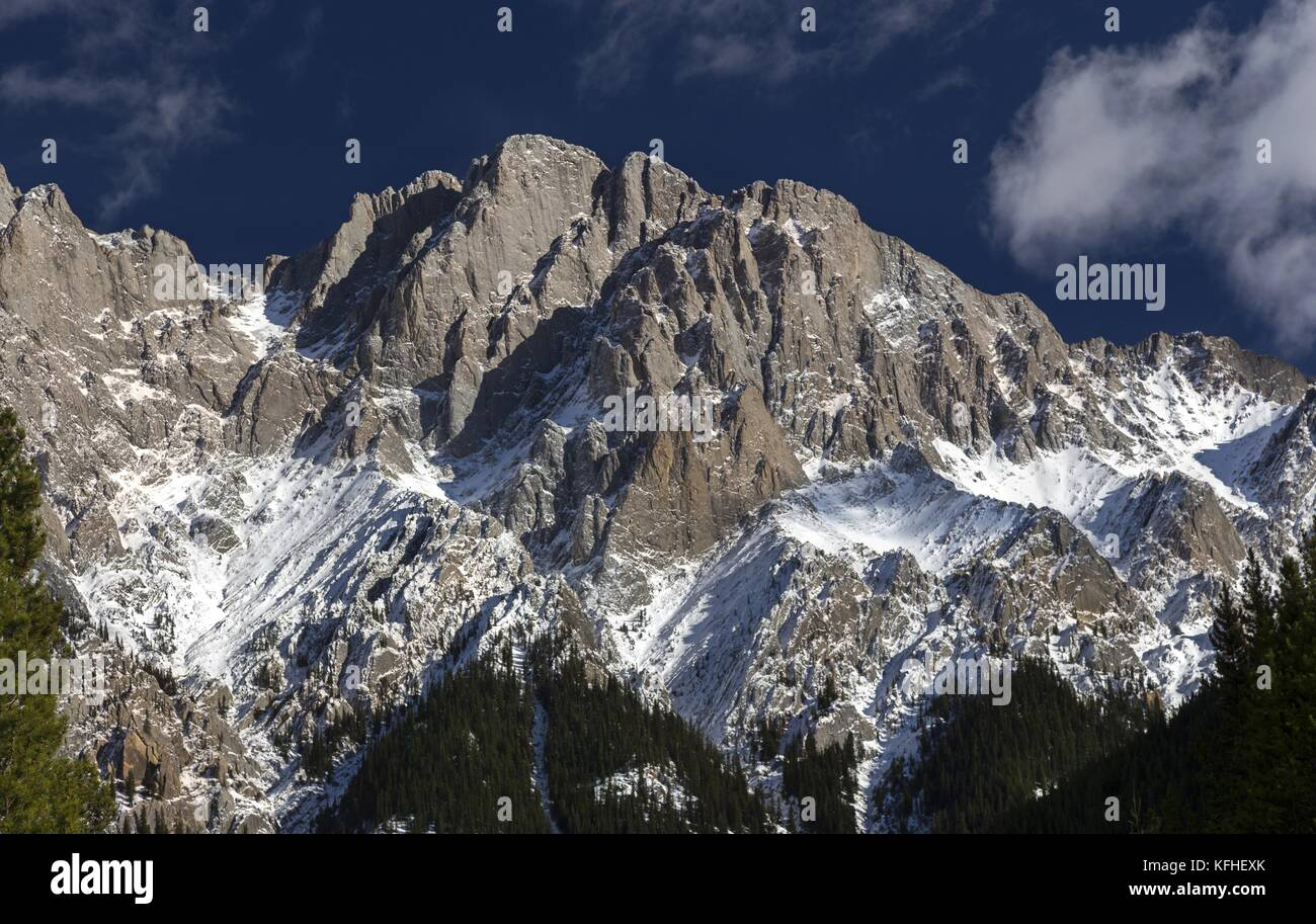 Rugged Top of Mount Blane behind Kings Creek in Peter Lougheed Provincial Park, Kananaskis Country, Rocky Mountains - Stock Image