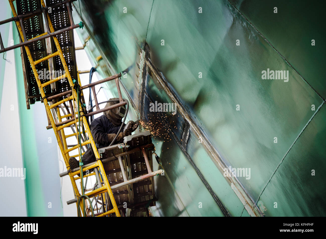Ship under construction. Welding works. Cam Rahn shipyard, Vietnam. Stock Photo