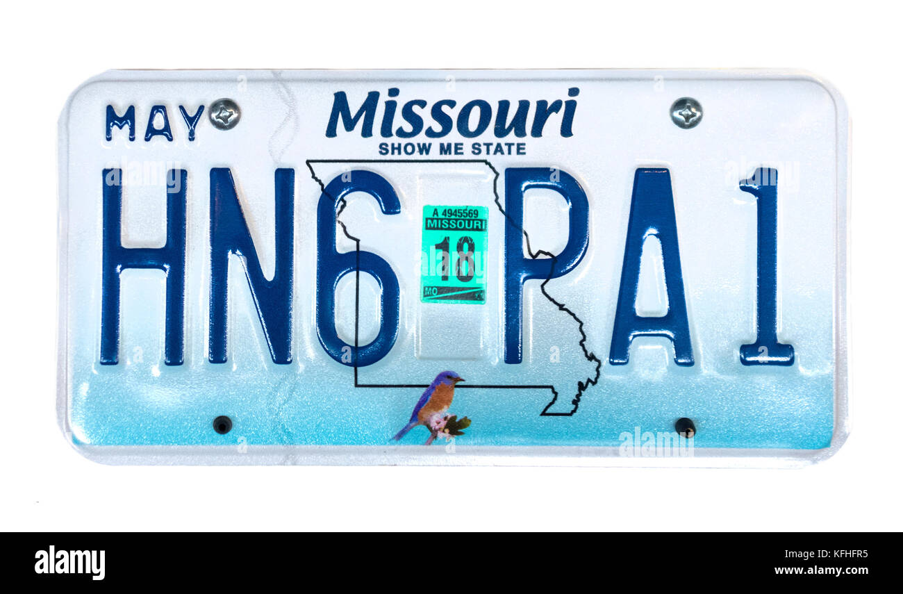Missouri license plate; vehicle registration number. Missouri Show Me State number plate. - Stock Image