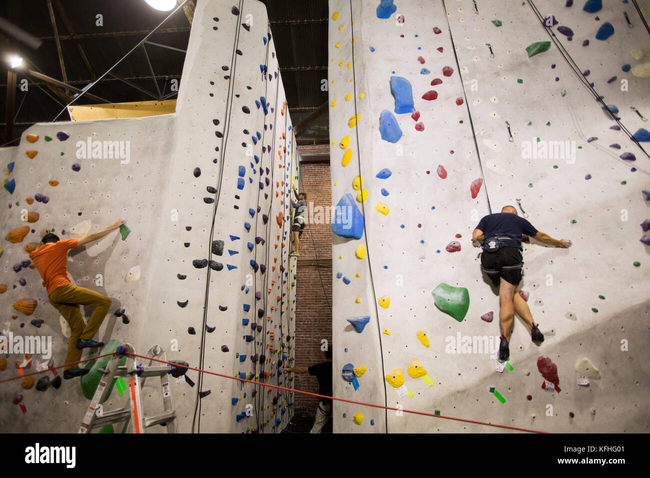 The Stronghold Climbing Gym Rock Climbing Wall Brewery Art Colony Los Angeles California Usa
