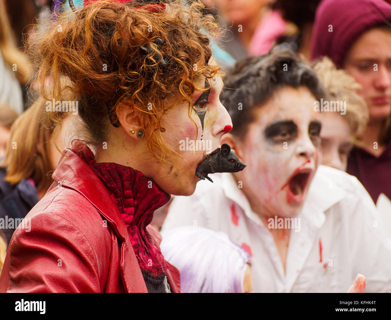 Newquay, Cornwall, UK. 29th October, 2017. Zombie Crawl Parade. sixth annual event. Organised by Newquay Buisiness - Stock Image