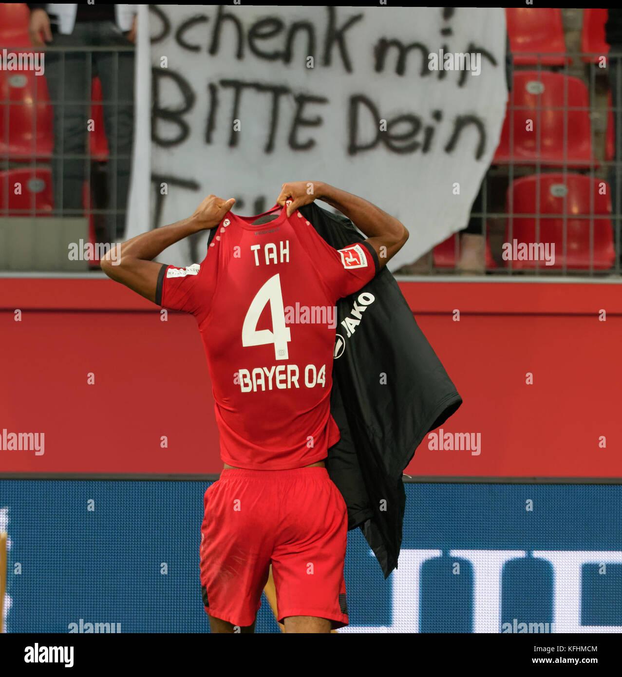 Leverkusen, Germany October 28 2017, Bundesliga matchday 10, Bayer 04 Leverkusen vs 1. FC Koeln: Jonathan Tah (B04) - Stock Image