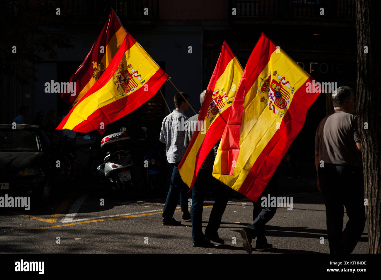 Barcelona, Spain. 29th Oct, 2017.  The nationalist demonstration against the declaration of independence has concentrated - Stock Image