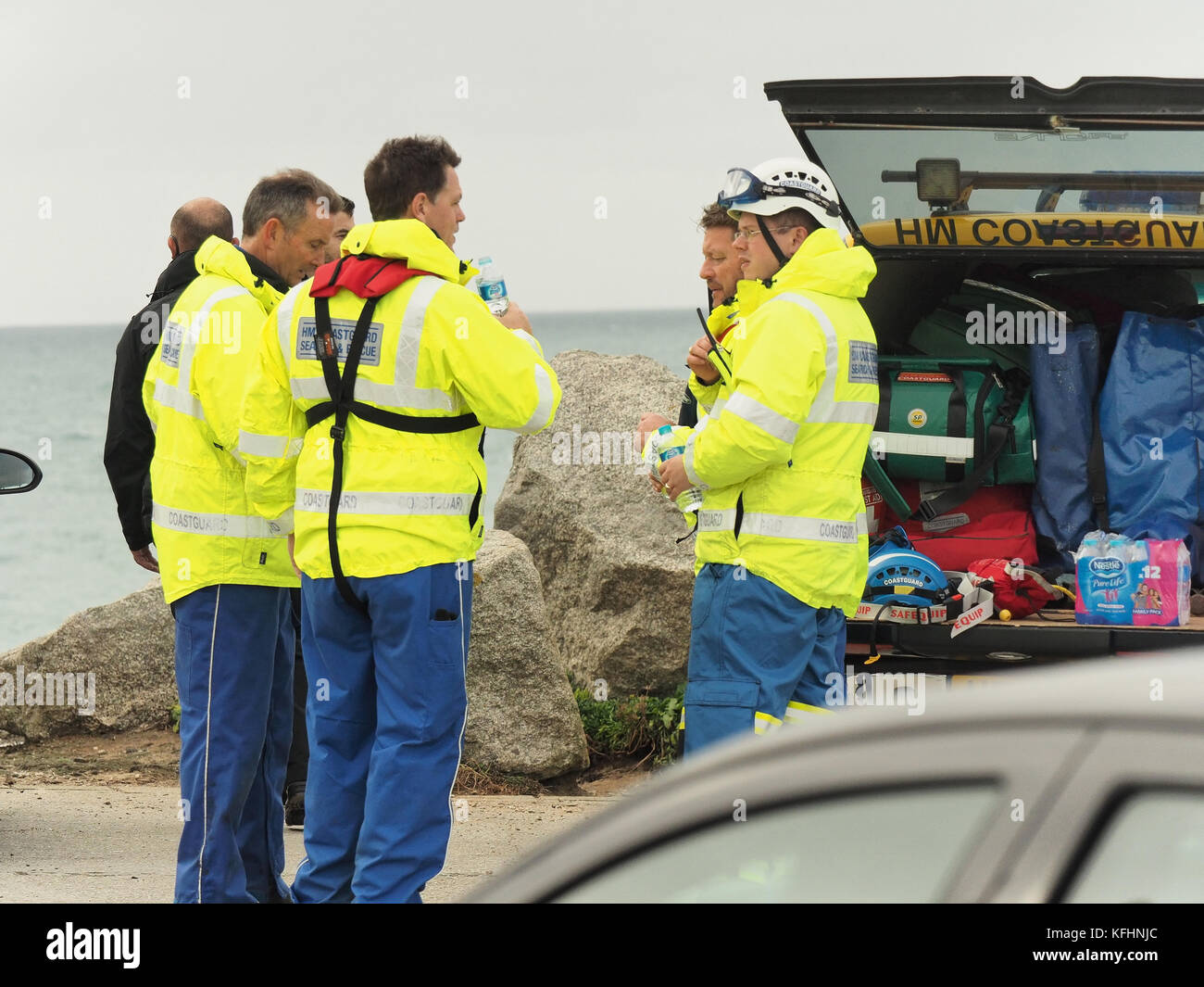 Newquay, Cornwall, UK. 29th Oct, 2017. Missing person Dom Sowa 17 yrs of age,  A  huge search underway. 29th, October, - Stock Image
