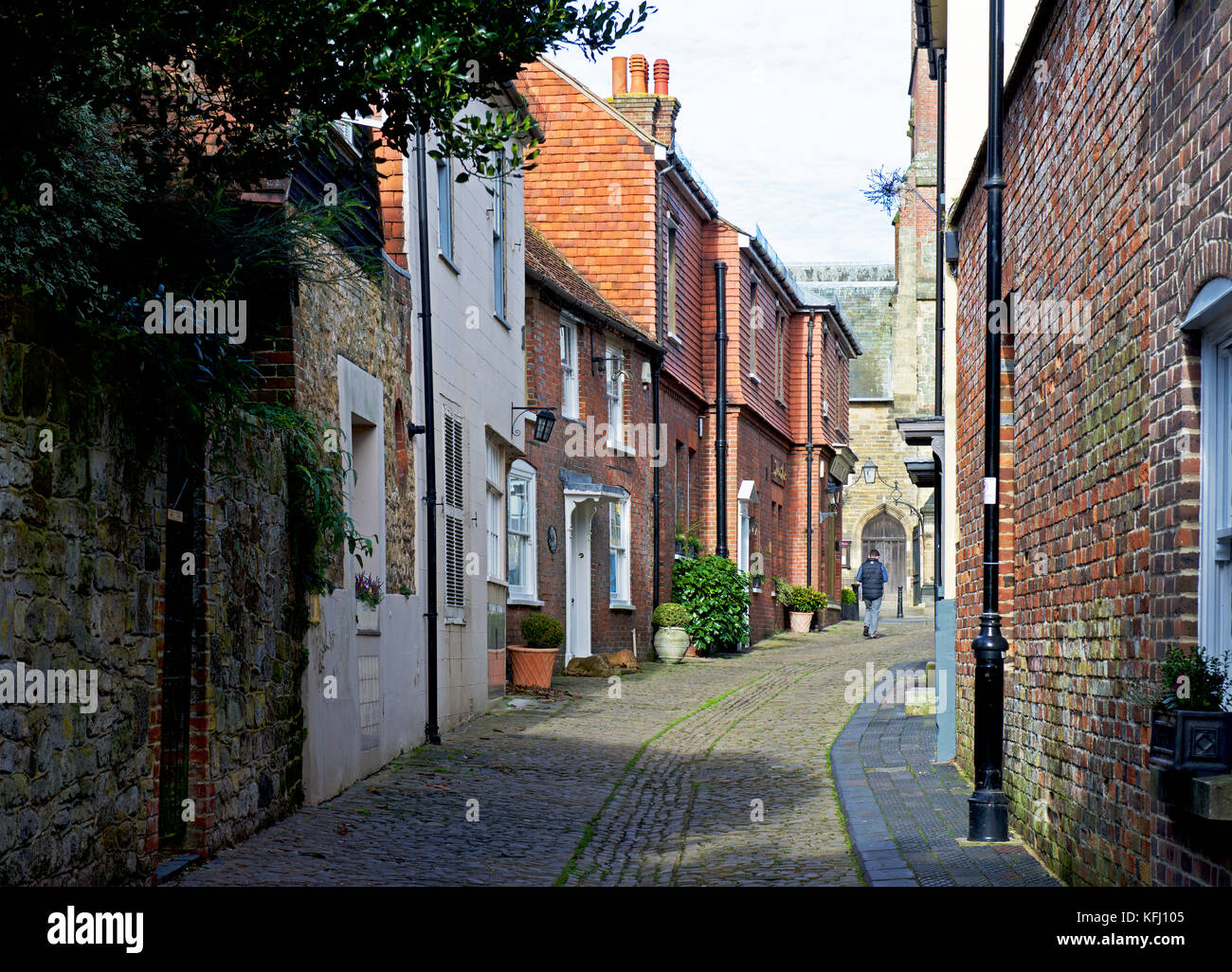 Cobbled Lombard Street in Petworth, a small town in east Sussex, England UK - Stock Image