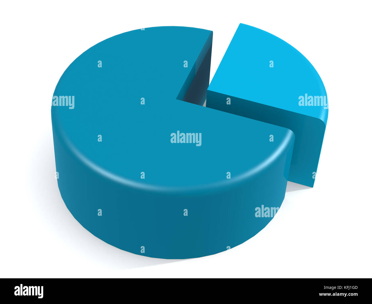 Blue pie chart with 25 percent, 3D rendering - Stock Image