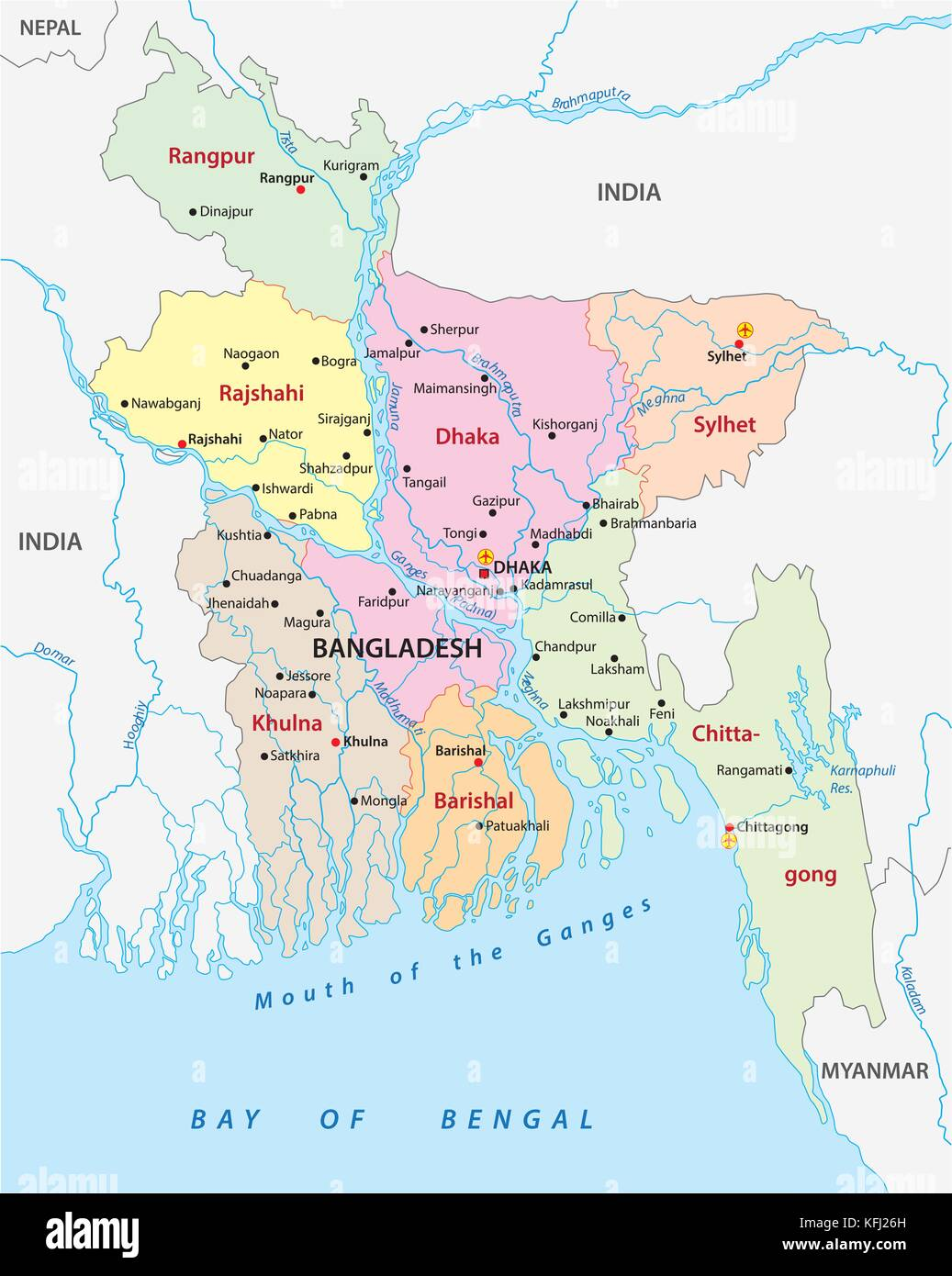 Bangladesh Administrative And Political Vector Map Stock Vector Art