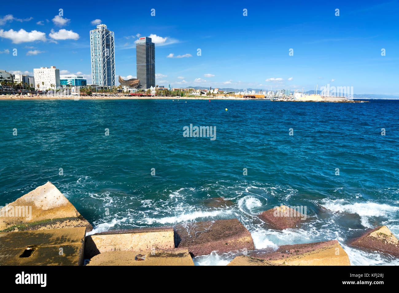 Coast of Barcelona in 20. September 2017, Spain - Stock Image