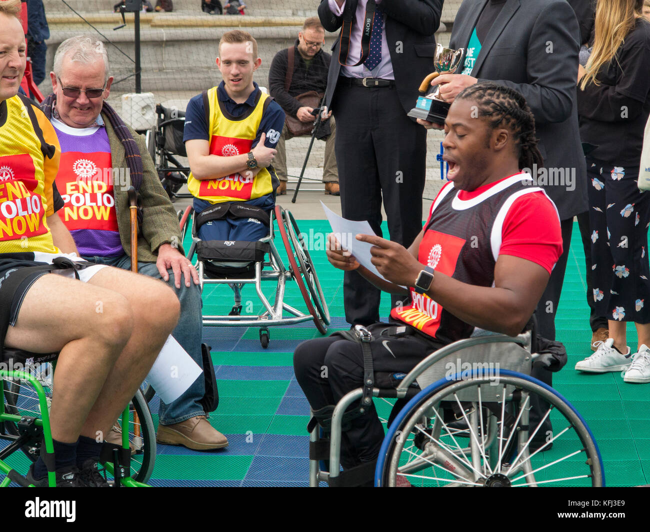 British MP's & British Wheelchair Basketball players playing wheelchair basketball in Trafalgar Square, - Stock Image