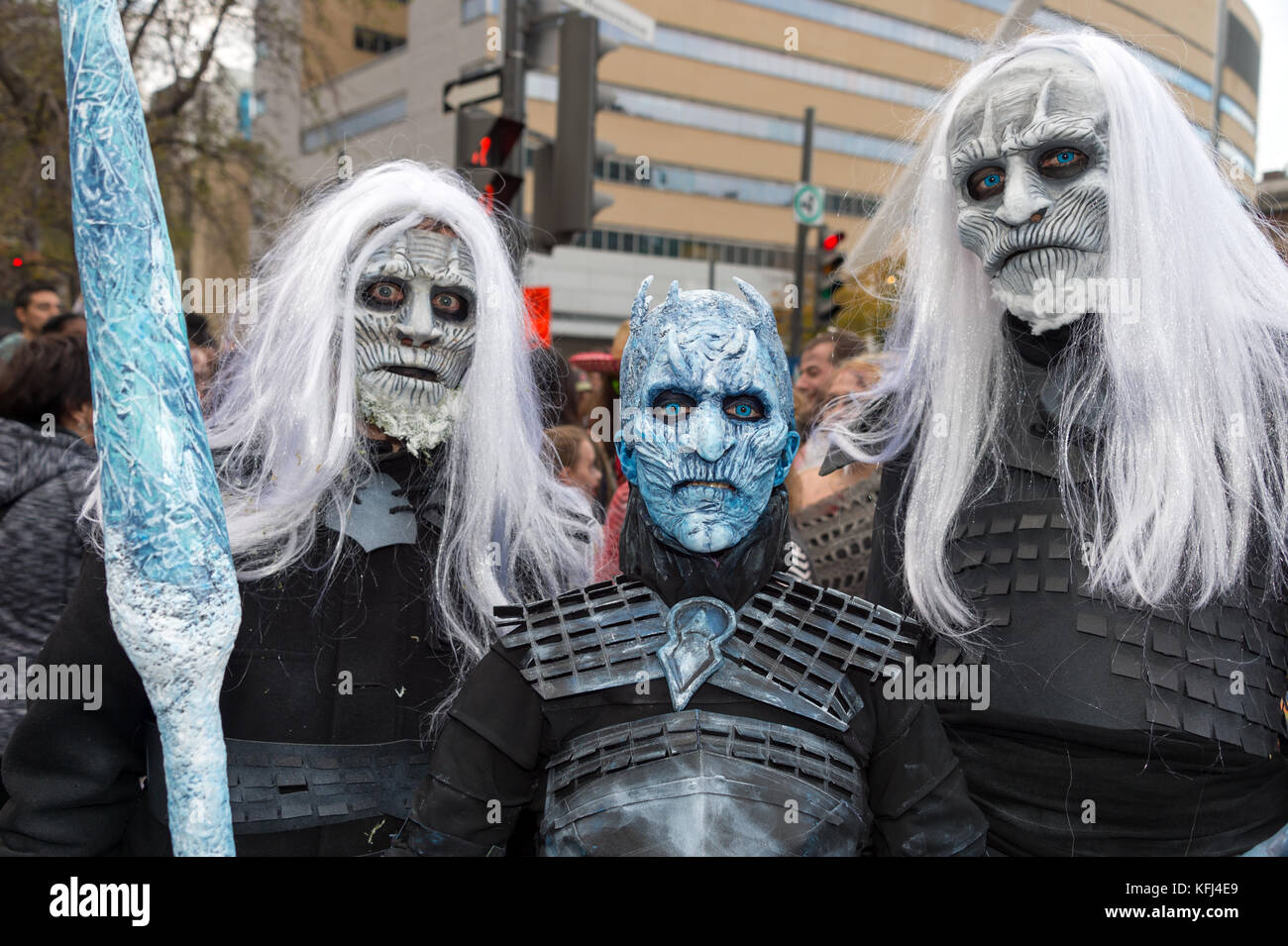 Montreal Canada - October 28 2017 Game of Thrones White Walkers and Night King taking part in the Zombie Walk in Montreal Downtown & Montreal Canada - October 28 2017: Game of Thrones White Walkers ...
