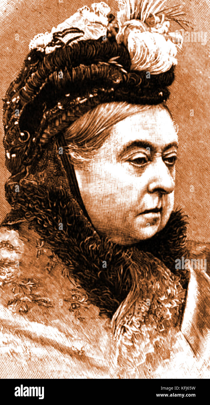 HISTORY OF TOBACCO - A portrait of Queen Victoria of England who  banned smoking in all royal residences but her - Stock Image