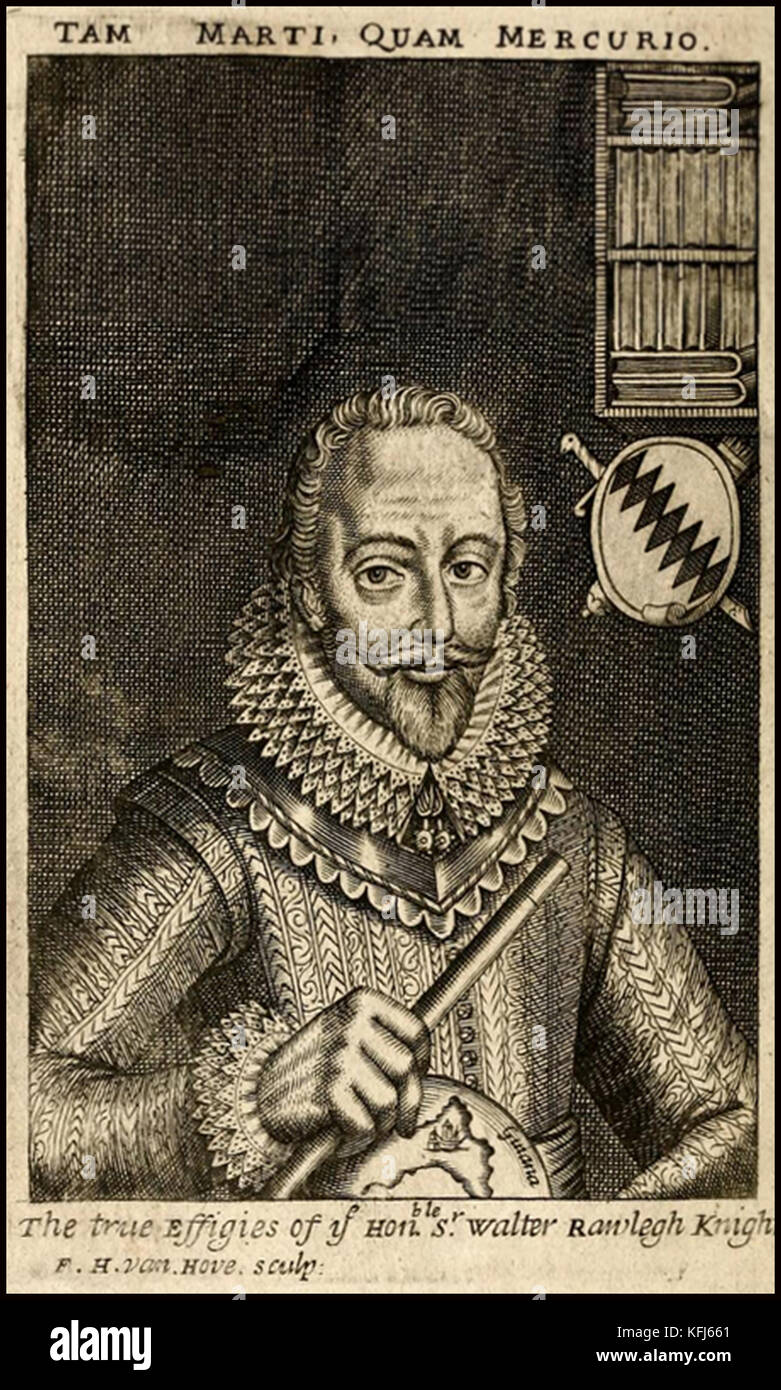 HISTORY OF TOBACCO - An old engraving showing  a portrait of Sir Walter Raleigh who brought tobacco to England for - Stock Image