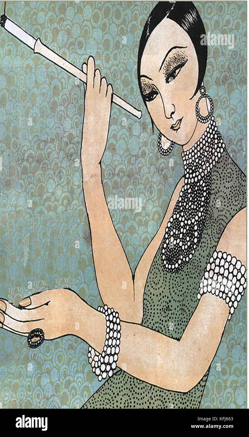 HISTORY OF TOBACCO -(1927 magazine illustration) Cigarette holders can be traced back to the 17th century. They - Stock Image