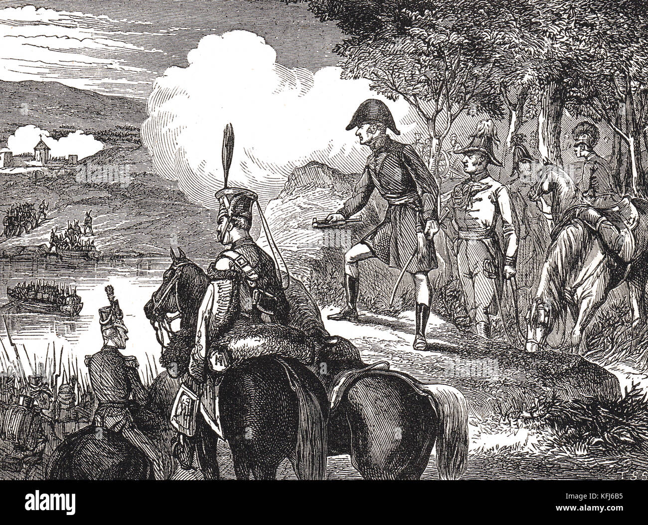 Wellington watching his army, Crossing of the Douro river, 1809, The Second Battle of Porto, also known as the Battle - Stock Image