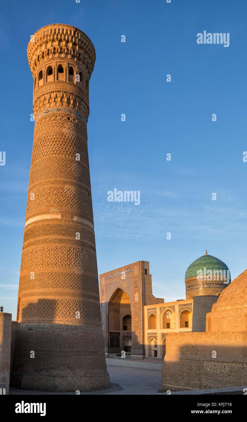 Kalyan Minaret and Miri Arab Madrasah at sunset. Bukhara, Uzbekistan - Stock Image