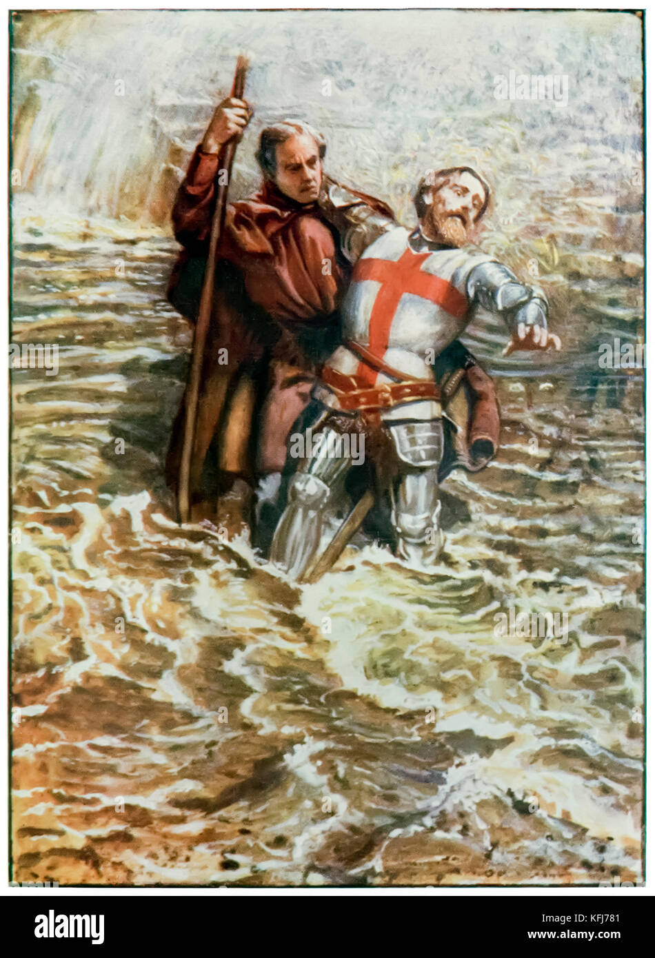 """Hopeful helps Christian to cross the river"" from 'The Pilgrim's Progress From This World, To That Which Is To Come' - Stock Image"