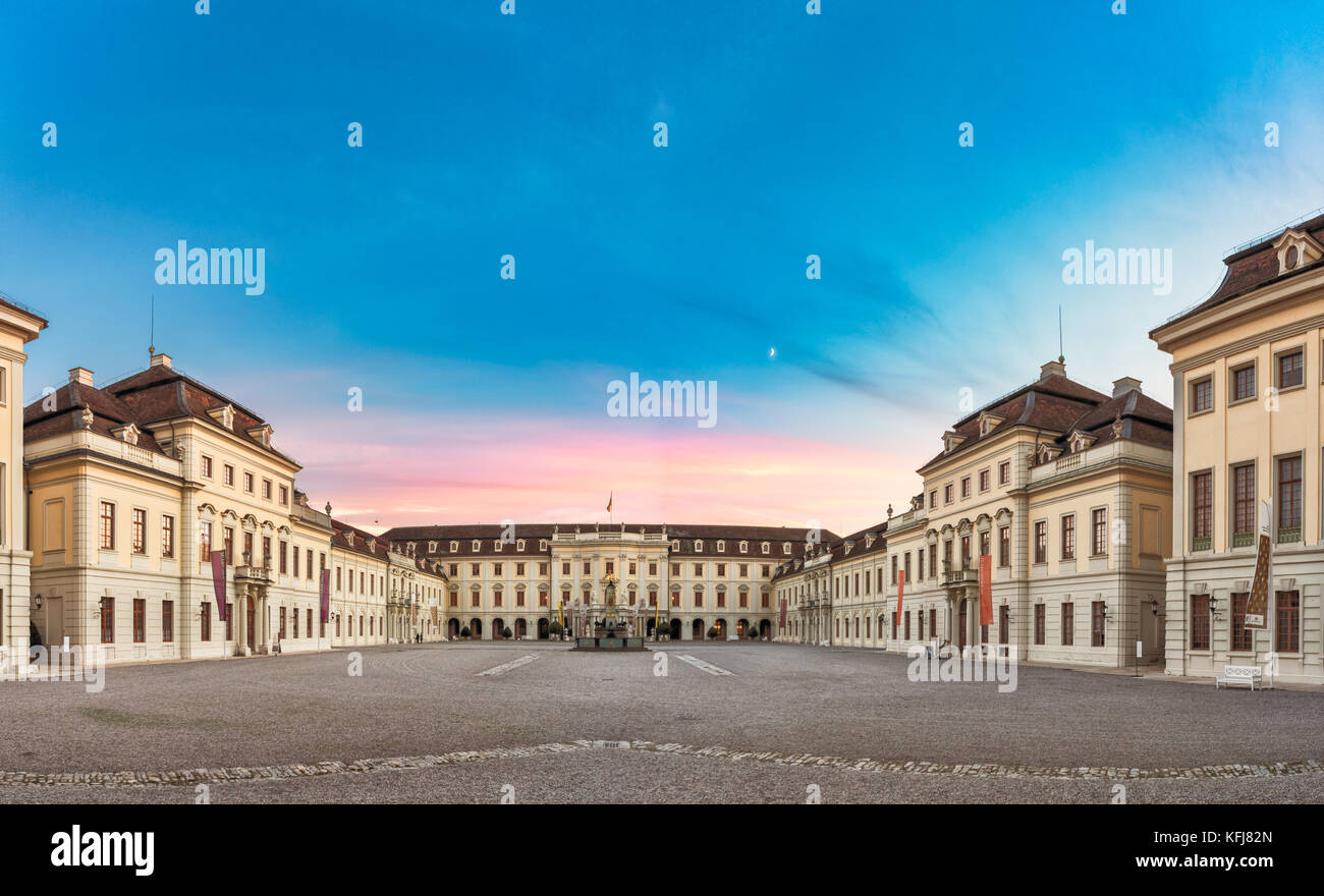 LUDWIGSBURG, GERMANY - OCTOBER 25, 2017: During sundown the inner yard of the castle glooms in the residual sun - Stock Image