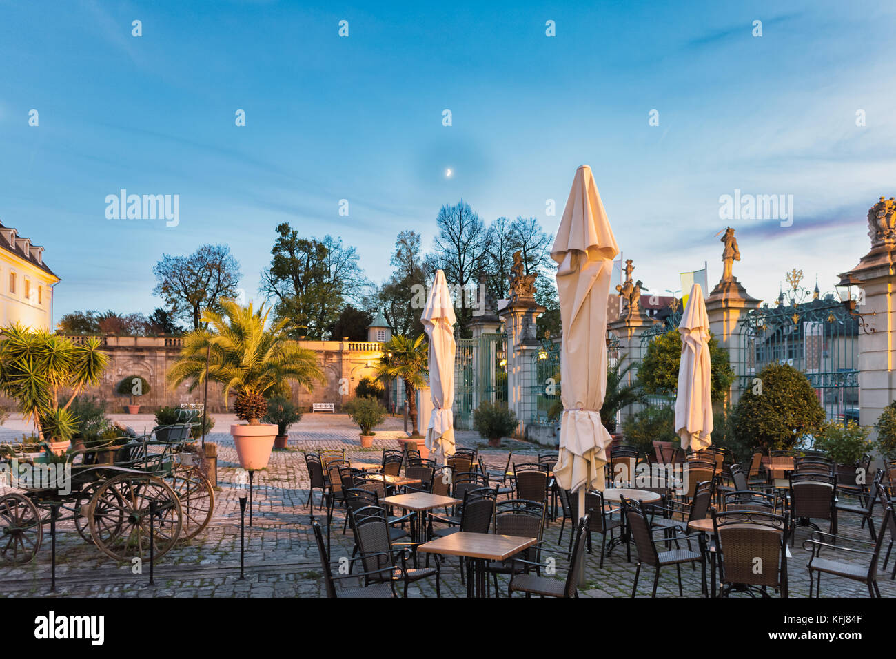 LUDWIGSBURG, GERMANY - OCTOBER 25, 2017: The castle cafe invites for a rest to enjoy the scenic light of the blue - Stock Image