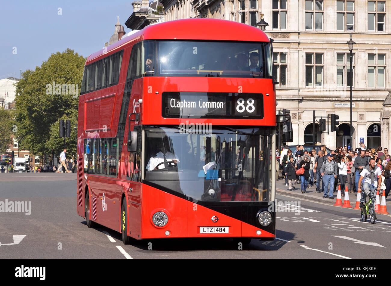 London Bus. New Routemaster London Bus designed by Heatherwick Studio and manufactured by Wrightbus, seen driving - Stock Image