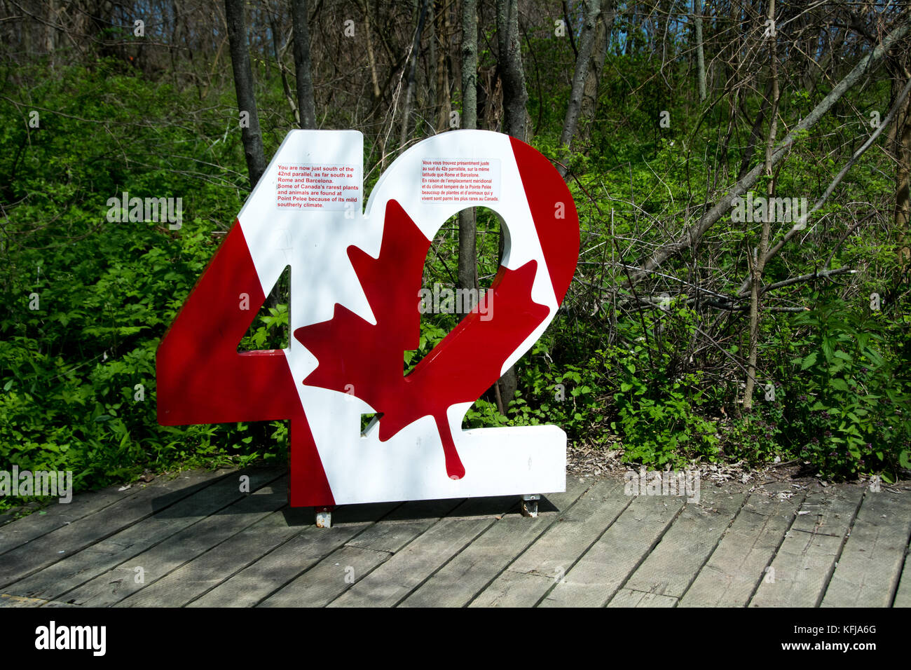 A sign marking the 42 degree of latitude ,close to the most southerly point of Canada, in Point Pelee Park, Ontario. Stock Photo