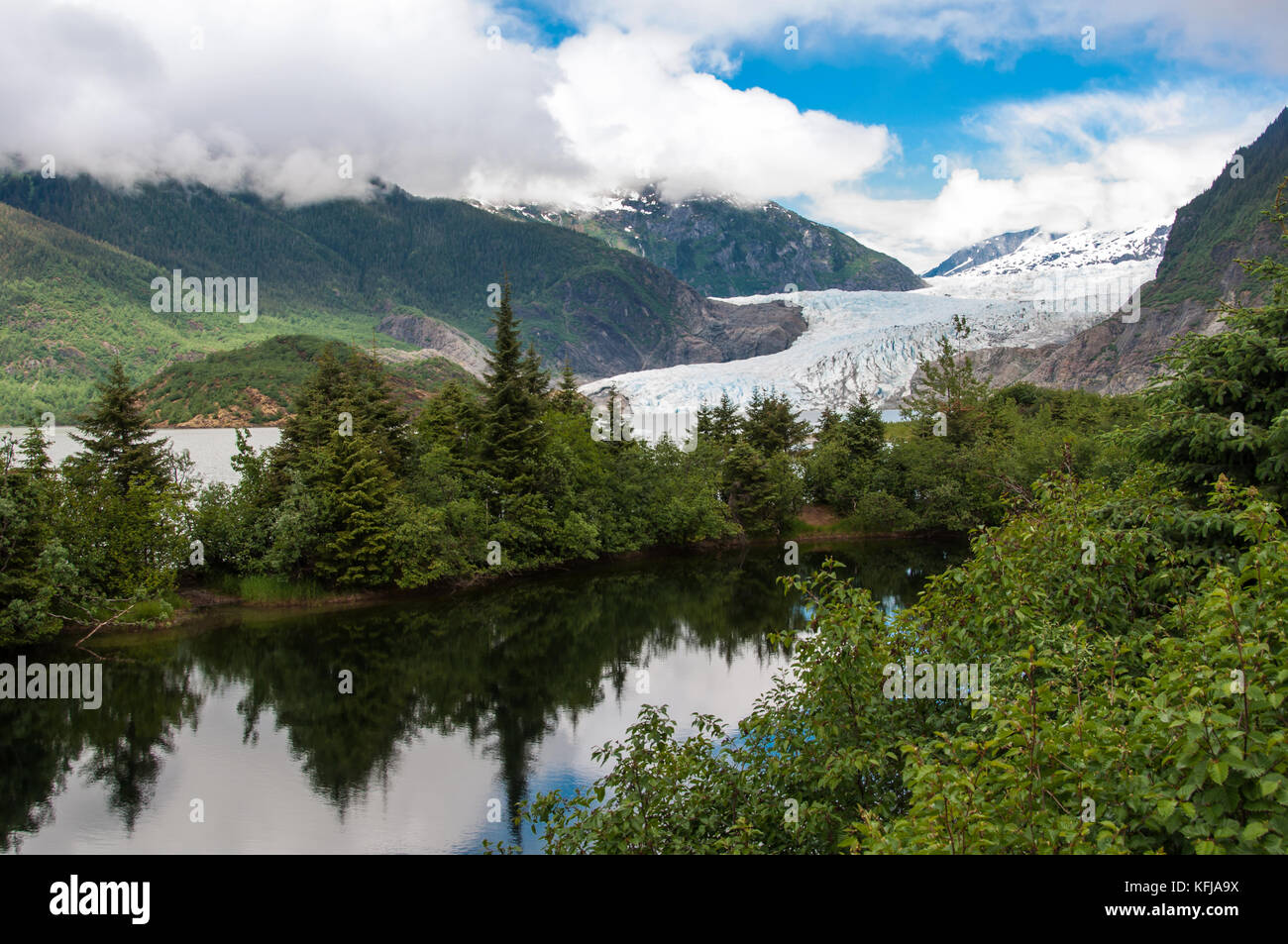 Breathtaking view of Mendenhall Glacier. Glacier located  about 12 miles from  Juneau in the southeast area of the - Stock Image