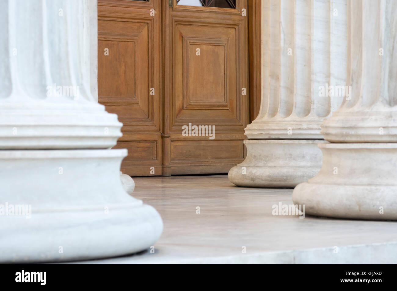 columns in entrance of athens - Stock Image