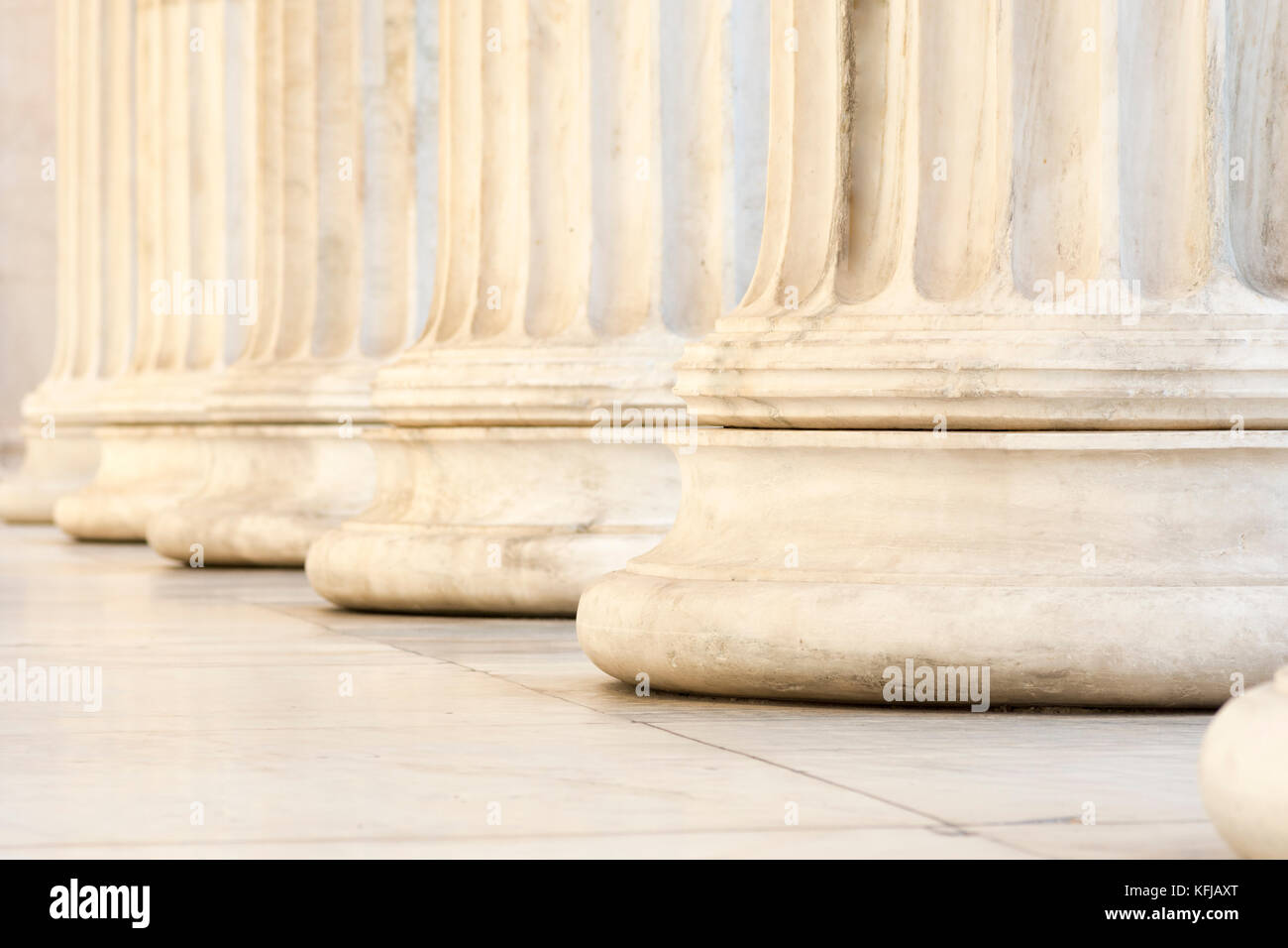 marble columns of academy of athens - Stock Image