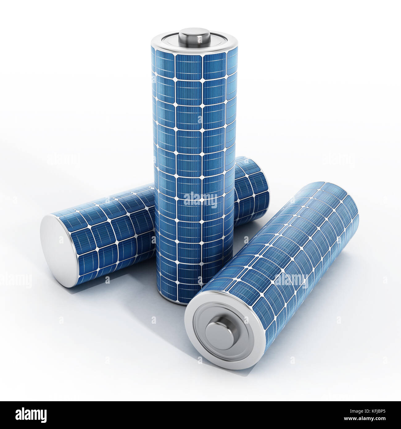 Solar panel on AAA type battery. 3D illustration. - Stock Image
