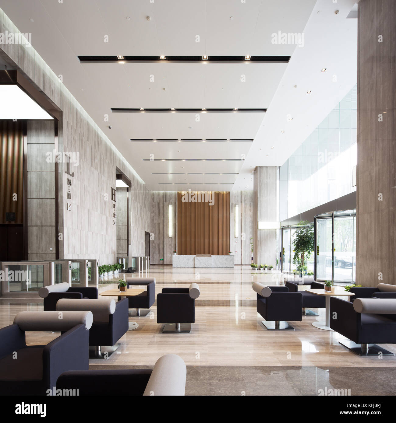 interior of modern entrance hall in modern office building ...