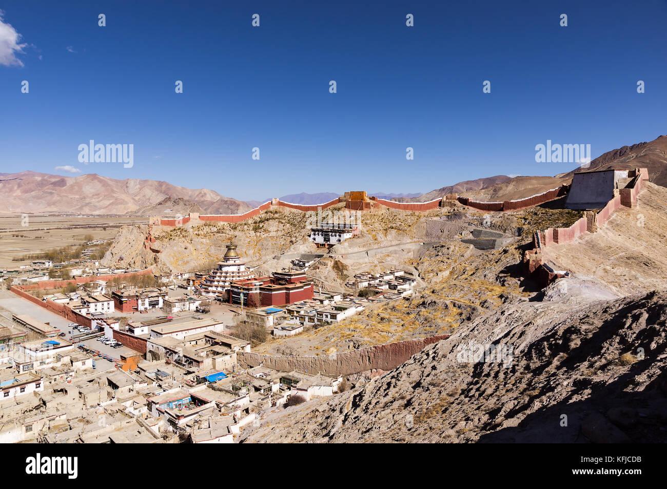 Gyantse town - Tibet - Stock Image