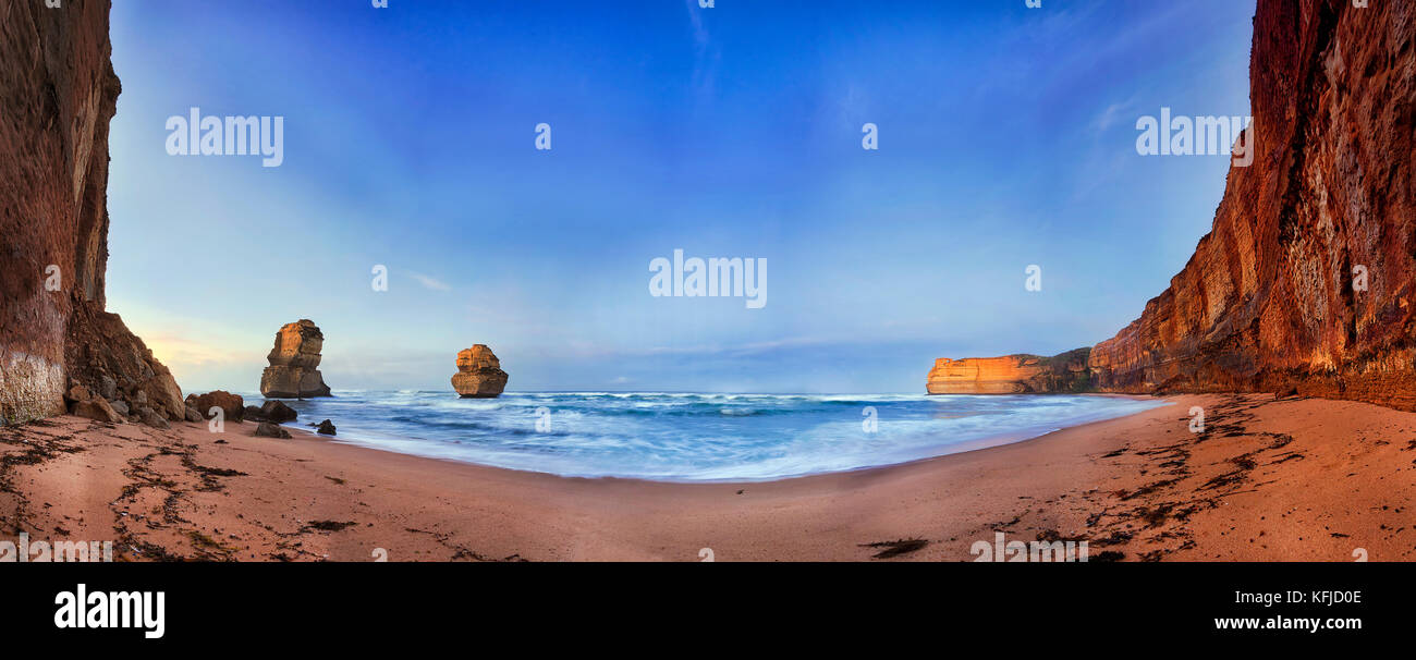Secluded remote sandy beach at Gibson Steps of Great Ocean road Twelve apostles marine park in Victoria, Australia. - Stock Image
