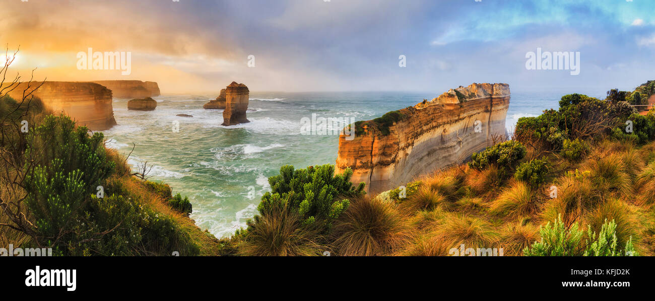 Razorblade cut off limestone rock of Great Ocean road twelve apostles marine park in Victoria. Colourful sunrise - Stock Image