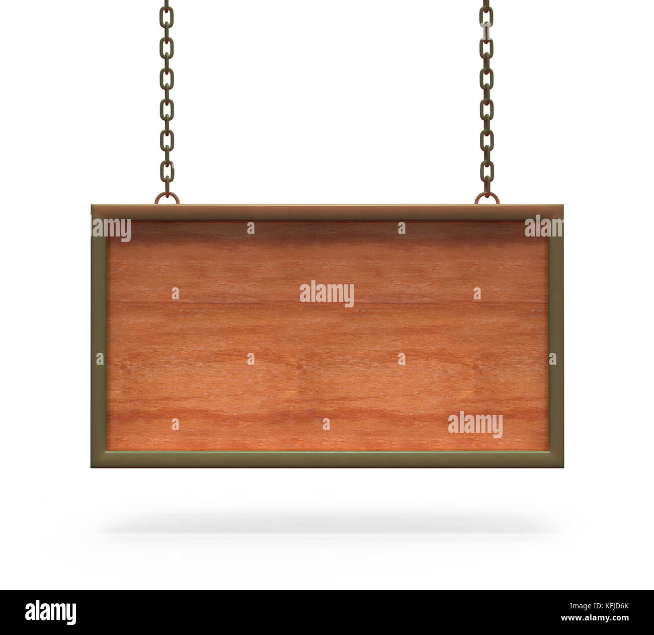 Wood Sign Board hanging on the chains. with clipping path. - Stock Image