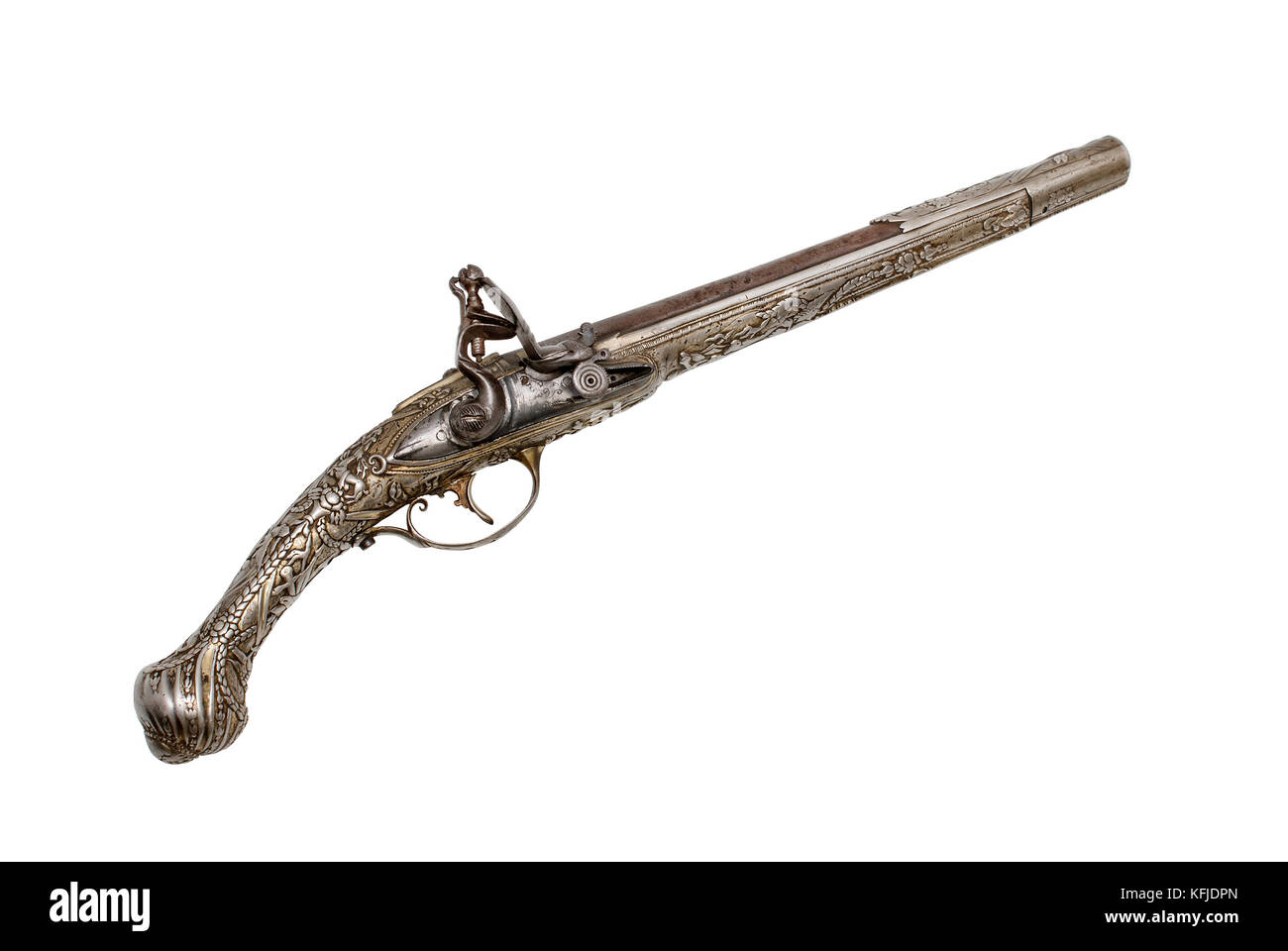 Beautiful decorated example of flint gun. End of the18th-the beginning of the 19th centuries. Balcan weapons were - Stock Image