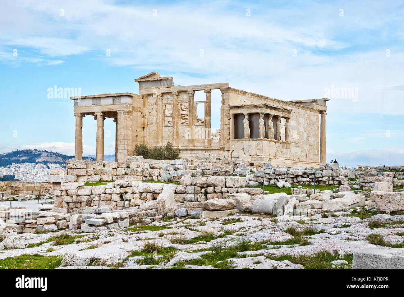 The Erechtheion is an ancient Greek temple on the north side of the Acropolis of Athens in Greece which was dedicated - Stock Image