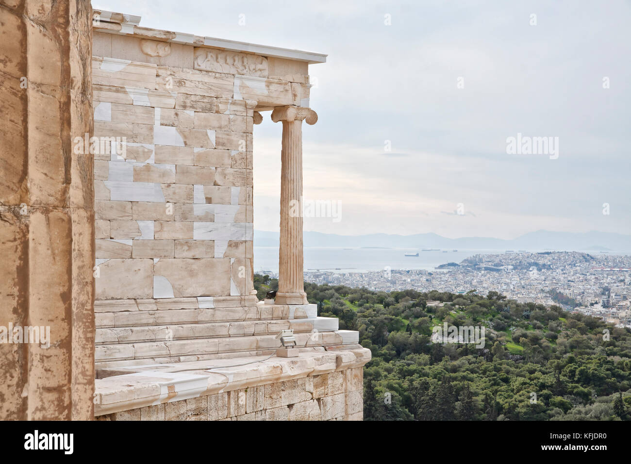 View from the Acropolis of Athens to the Saronic Gulf and port Piraeus. Piraeus is a port city in the region of Stock Photo