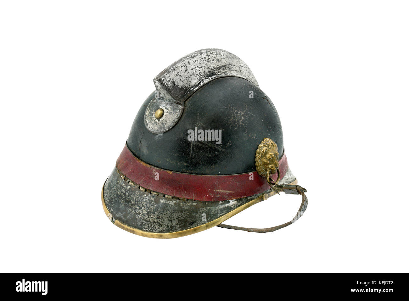 old helmet for fireman isolated on white. The time of the '40s. Czechoslovakia - Stock Image