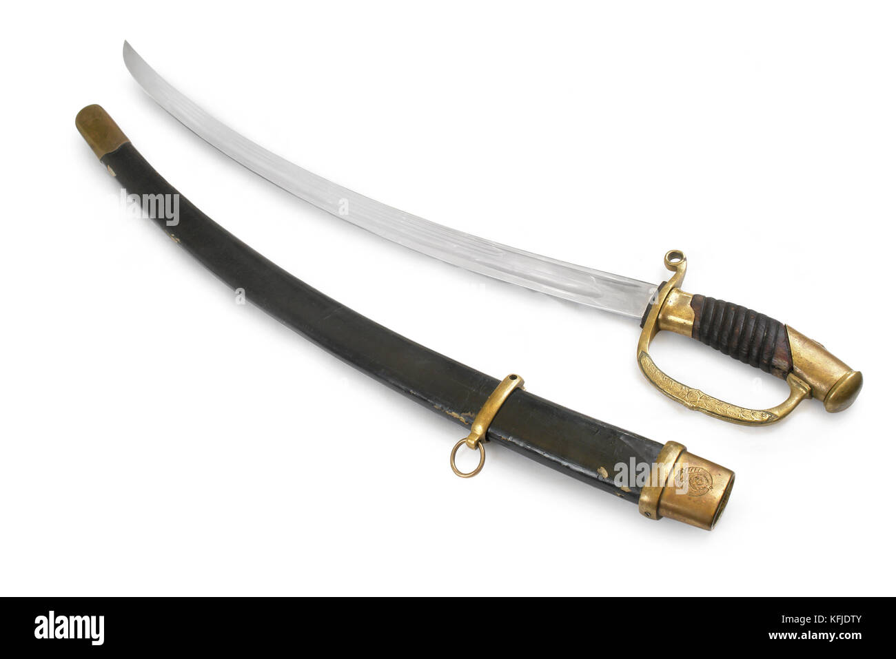 Soviet cavalry officer saber (sabre, cavalry sword). Former USSR. Path on white background. - Stock Image