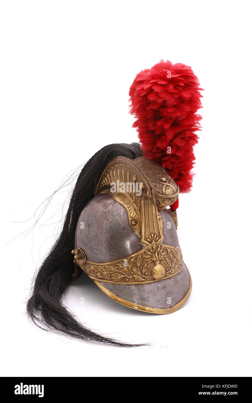 helmet of French cuirassier (jokingly called - 'big men on big horses'). France. 19 century. Period of napoleonic - Stock Image