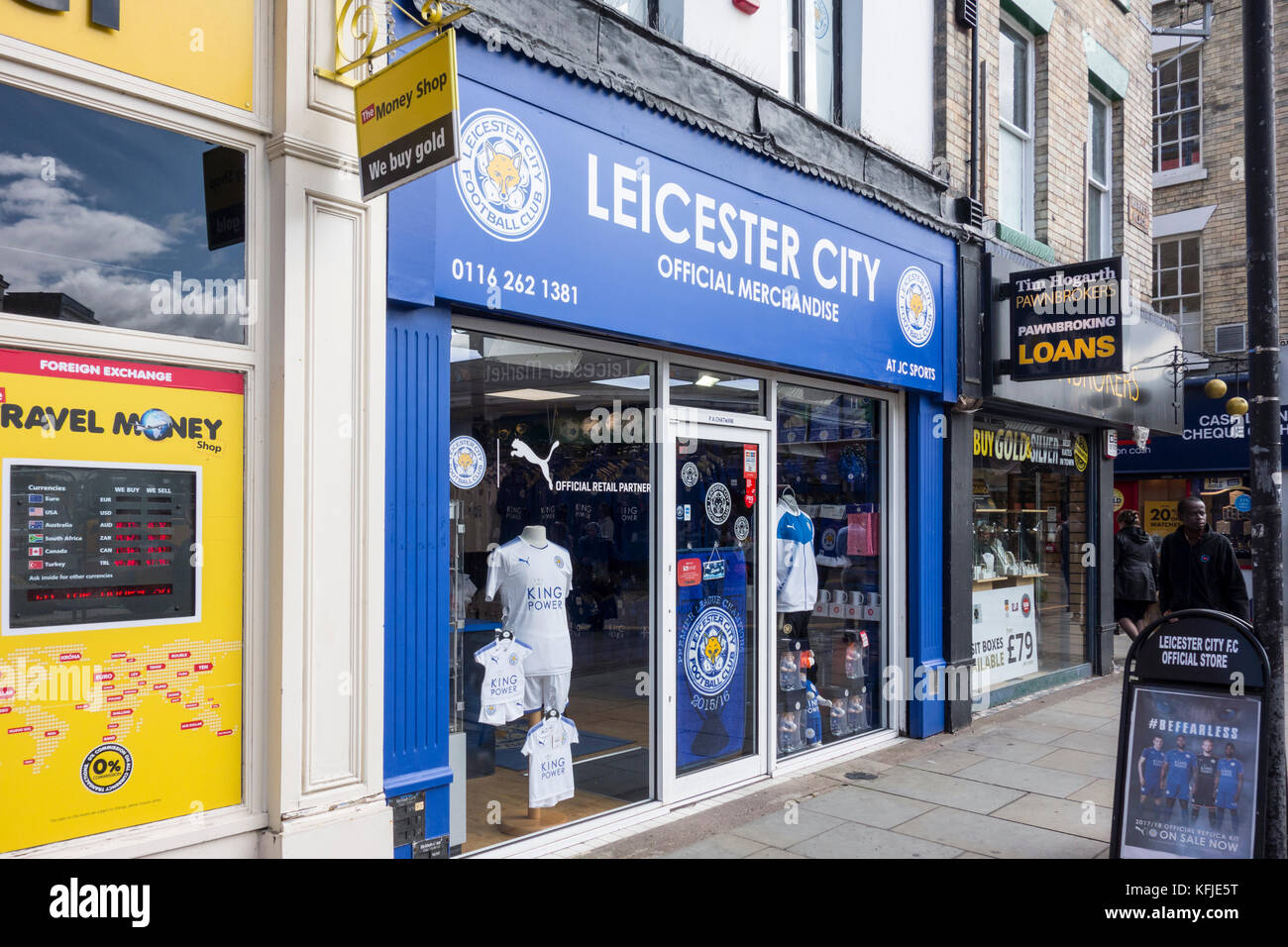 Leicester City Football Club Official Merchandise - shop in city centre, Leicestershire, East Midlands, UK - Stock Image