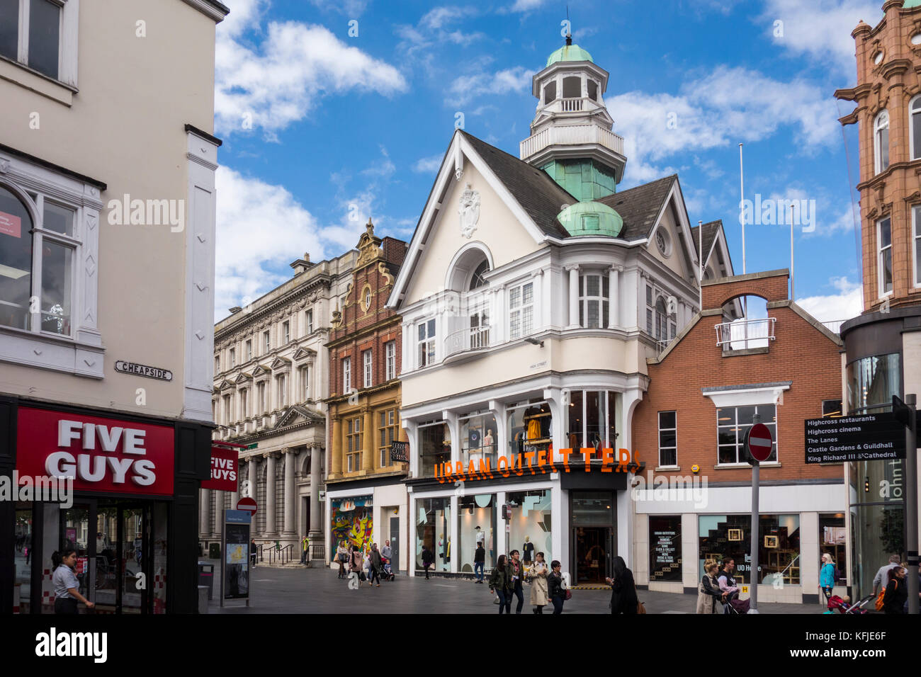 Shops on High Street, Leicester, Leicestershire, East Midlands, UK - Stock Image